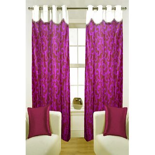 Enaakshi Set of 2 Floral Door Curtains with scallops, Magenta