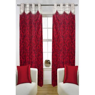Enaakshi Set of 2 Floral Door Curtains with scallops, Red