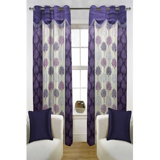 Enaakshi Set of 2 Floral Door Curtains with scallops, Purple