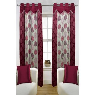 Enaakshi Set of 2 Floral Door Curtains with scallops, Maroon