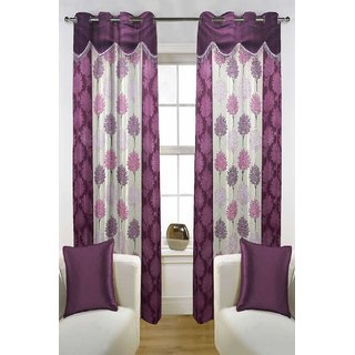 Enaakshi Set of 2 Floral Door Curtains with scallops, Violet
