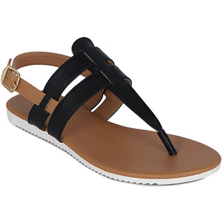 Flora Black Back Strap Sandal