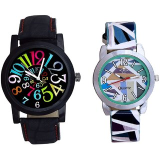 Black Dial Multi Colour Digit And Sky Blue Sep Leather Strap  Analogue Watch By Ram Enterprise