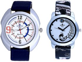 White Dial Sport And Black Leather Strap Analogue Watch