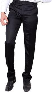 VILLAIN Men Black Slim Fit Formal Trouser