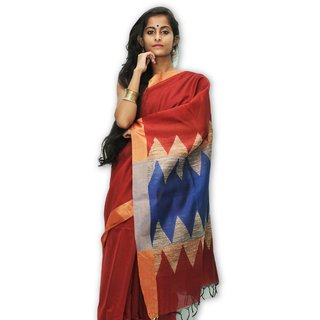Handloom Collection Blue,Red Dupion Silk,Handloom,Silk,Tussar Silk,Art Silk Woven Design Saree With Blouse