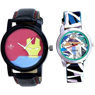 Tony Stark Face And Sky Blue Sep Leather Strap  Analogue Watch By Ram Enterprise