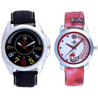 Black Dial Colour Digits And Red Leather Strap Analogue Watch By Ram Enterprise