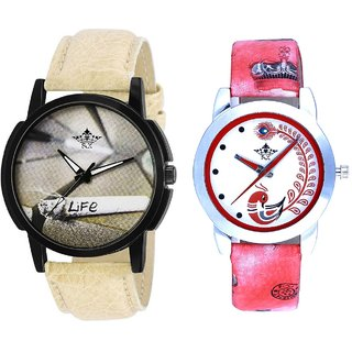 Nothing Without Life And Red Leather Strap Analogue Watch By Ram Enterprise