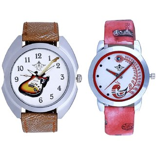 Colouring Guitar And Red Leather Strap Analogue Watch By Ram Enterprise