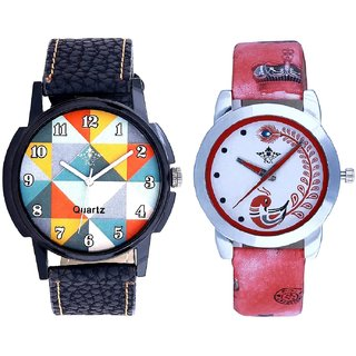 Orange Art Colour And Red Leather Strap Analogue Watch By Ram Enterprise