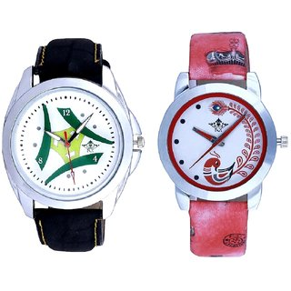 White-Grren Tri Dial And Red Leather Strap Analogue Watch By Ram Enterprise