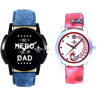 Lovely Dad And Red Leather Strap Analogue Watch By Ram Enterprise