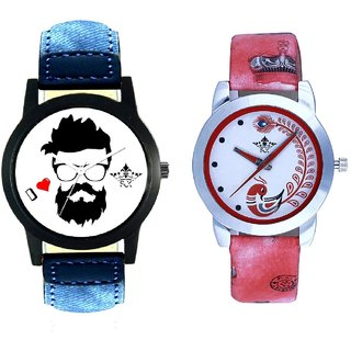 I Love Rock Handsome Round Dial And Red Leather Strap Analogue Watch By Ram Enterprise