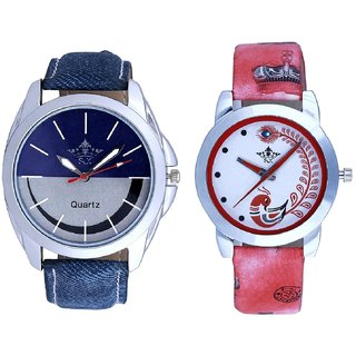 Smiley Look Dial And Red Leather Strap Analogue Watch By Ram Enterprise
