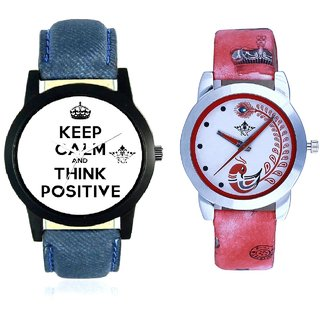 Super Power Of Positive Thinking Round Dial And Red Leather Strap Analogue Watch By Ram Enterprise