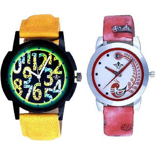 Black Dial Yellow-Green Digits And Red Leather Strap Analogue Watch By Ram Enterprise