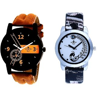 Luxury Fancy And Black Leather Strap Analogue Watch By Ram Enterprise