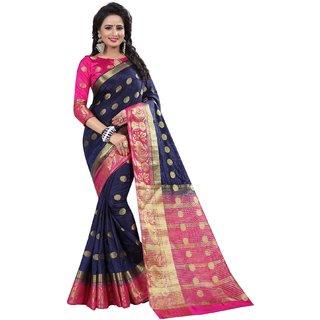 Meia Blue Banarasi Silk Self Design Saree With Blouse