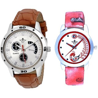 Cronograph Pattern And Red Leather Strap Analogue Watch By Ram Enterprise