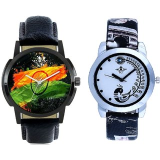 Indian Flag And Black Leather Strap Analogue Watch By Ram Enterprise