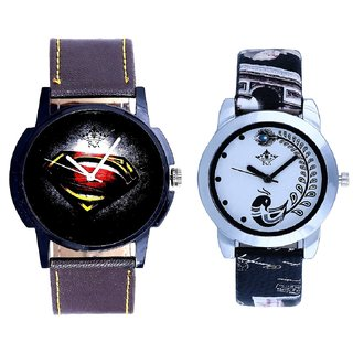 Black Dial Art And Black Leather Strap Analogue Watch By Ram Enterprise