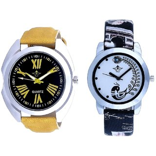 Exclusive Roman Digits Designer And Black Leather Strap Analogue Watch By Ram Enterprise