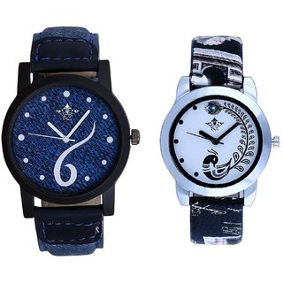 Luxury Blue Dial And Black Leather Strap Analogue Watch By Ram Enterprise