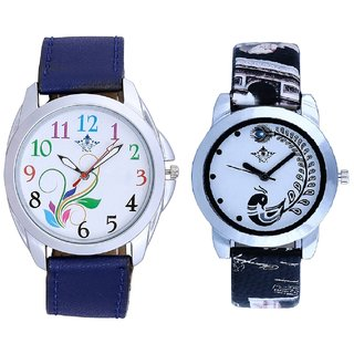 Flowers Multi Colour And Black Leather Strap Analogue Watch By Ram Enterprise
