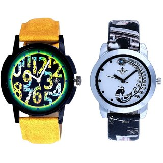 Black Dial Yellow-Green Digits And Black Leather Strap Analogue Watch By Ram Enterprise