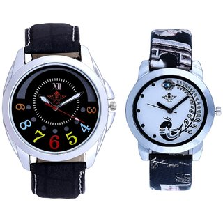 Black Dial Colour Digits And Black Leather Strap Analogue Watch By Ram Enterprise