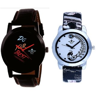 Do Your Best Black Dial And Black Leather Strap Analogue Watch By Ram Enterprise