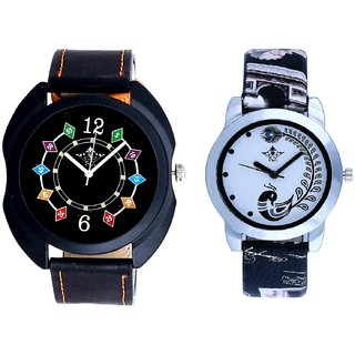 Black Dial Chain Digits And Black Leather Strap Analogue Watch By Ram Enterprise