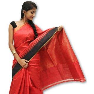 Handloom Collection Black,Red Dupion Silk,Handloom,Silk,Tussar Silk,Art Silk Woven Design Saree With Blouse
