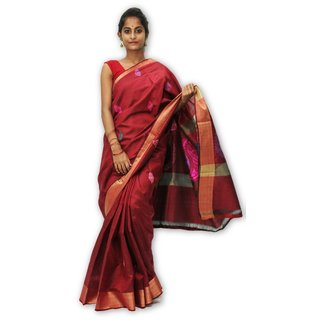 Handloom Collection Red Dupion Silk,Handloom,Silk,Tussar Silk,Art Silk Woven Design Saree With Blouse