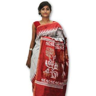 Handloom Collection White,Red Dupion Silk,Handloom,Silk,Tussar Silk,Art Silk Woven Design Saree With Blouse
