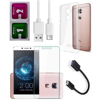 5 in 1 Combo of Back Cover Case forL eTV LeEco Le 2 (Silicone Soft Case, Tempered Glass, Wipes, Charging and Otg Cable)
