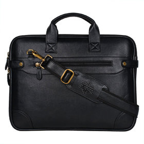 Style Homez Premium Leatherette Everyday Office Laptop Bag 15.6, Adjustable Strap and 5 Compartments, Metal Black Color