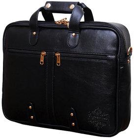 Style Homez Premium Leatherette Executive Laptop Briefcase Bag 15.6, Adjustable Strap and 7 Compartments, Metal Black Color