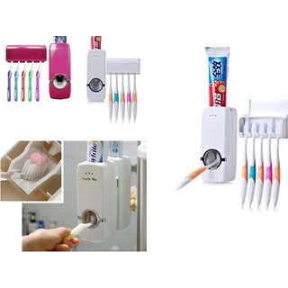 Touch Me Automatic Vacuum Toothpaste Dispenser Squeezer (Toothbrush Holder).