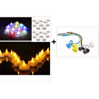 Diwali Exclusive Set of 3 Coloured Earphone  + Free Diya ( To light your Life )