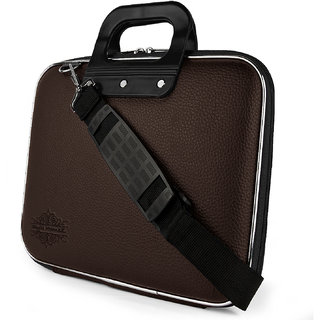 Style Homez Stylish Unisex Hard Shell Briefcase Brown Laptop Bag with Strap for 14