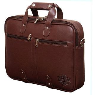 Style Homez Premium Leatherette Executive Laptop Briefcase Bag 15.6 Adjustable Strap and 7 Compartments Cinnamon TAN Brown Color