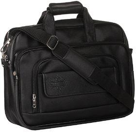 Style Homez Spacious Classic Retro Laptop Bag 15.6, Adjustable Strap and 6 Compartments,Metal Black Color