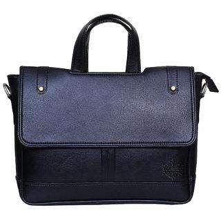 Style Homez Premium Laptop Executive Messenger Bag 15.6, Adjustable Strap and 6 Compartments,Metal Black Color