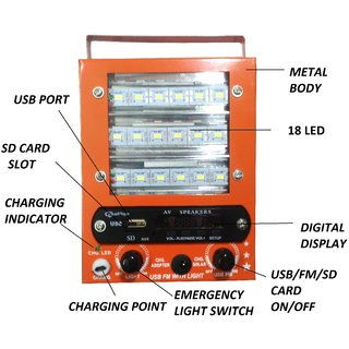 Rechargeable Multi functional 5 in 1 18 LED with charger orange