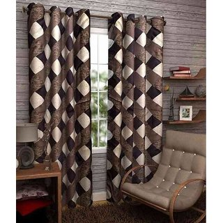 Abhi Home Decor Set of 2 Window Eyelet Curtains Printed Coffee