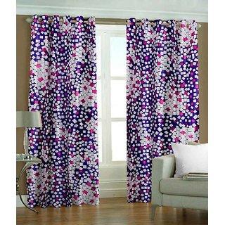 Abhi Home Decor Set of 2 Long Door Eyelet Curtains Printed Purple