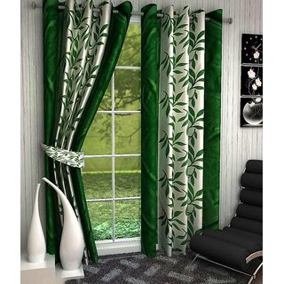Abhi Home Decor Set of 2 Door Eyelet Curtains Printed Green