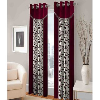 Abhi Home Decor Set of 2 Door Eyelet Curtains Printed Maroon